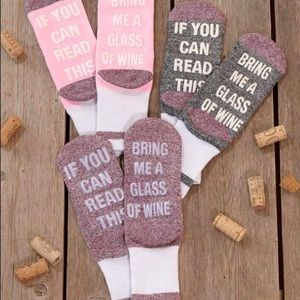 Accessories - Whimsical BRING ME A GLASS OF WINE Socks 3 Colors